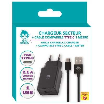 Chargeur secteur + Câble USB Type C Geek Monkeys Noir